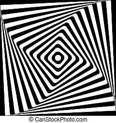 abstratos, quadrado, espiral, preto branco, padrão, experiência.
