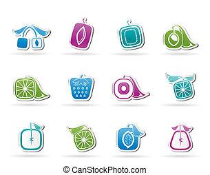 abstratos, quadrado, fruta, ícones
