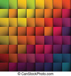 abstratos, quadrados, experiência., vetorial, eps10