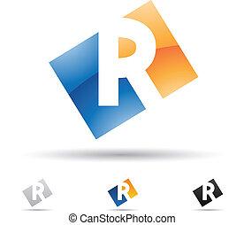 abstratos, r, letra, ícone