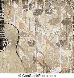 abstratos, rachado, fundo, accoustic, guitarra