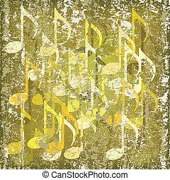 abstratos, rachado, fundo, nota musical