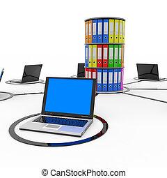 abstratos, rede computador, com, laptops, e, arquivo, ou,...