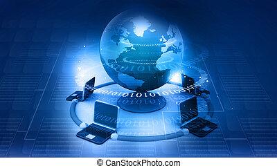 abstratos, rede, fundo, global, tech computador