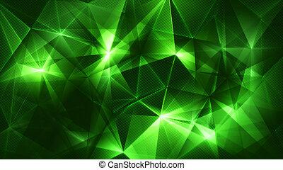 abstratos, rede, fundo, verde, trendy, escuro, triângulos