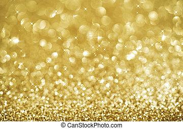 abstratos, resplendecer, ouro, feriado, natal, texture., bokeh, dourado, experiência.