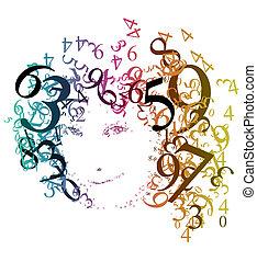 abstratos, retrato, de, um, mulher, com, números