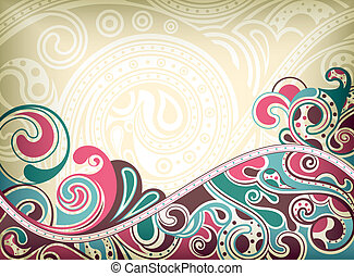 abstratos, retro, curva
