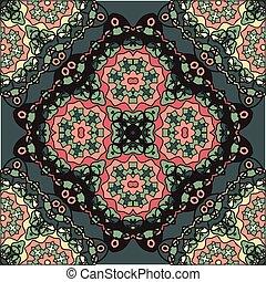 abstratos, retro, ornate, mandala, papel parede, para, cartão cumprimento, folheto, cartão, ou, convite, com, islamic, árabe, indianas, otomano, asiático, arabescos