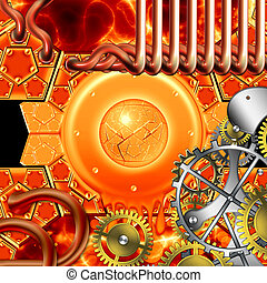 abstratos, retro, steampunk, mecanismo