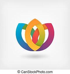 abstratos, símbolo, flor, em, cores arco-íris