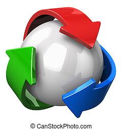 abstratos, símbolo reciclando