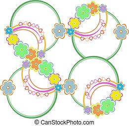 abstratos, seamless, coloridos, fundo, com, flores