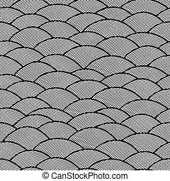 abstratos, seamless, padrão, mão, fundo, ondas, desenhado