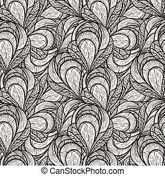 abstratos, seamless, padrão, vetorial, floral, monocromático