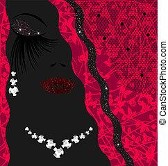 abstratos, senhora, jóia, fundo