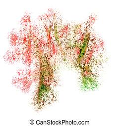 abstratos, seu, fundo, marrom, aquarela, desenho, verde, vermelho