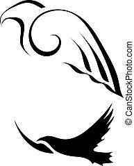 abstratos, silhuetas, de, pássaros