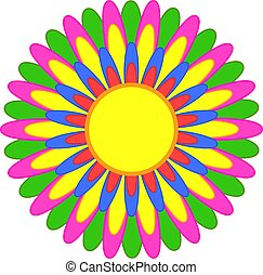 abstratos, simples, flor, com, vermelho, amarela, azul, laranja, cor-de-rosa, verde, pétalas