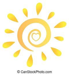 abstratos, sol, com, coração, em, gradiente