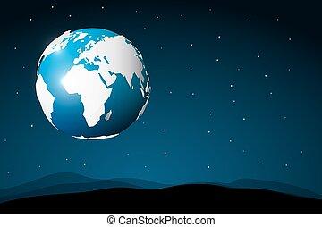 abstratos, space., lua, planeta, vector., terra, surface., vista