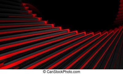 abstratos, stair-like, preto vermelho, fundo