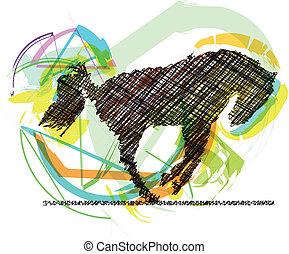 abstratos, stallion., vetorial, ilustração