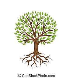 abstratos, stylized, árvore, com, raizes, e, leaves.,...