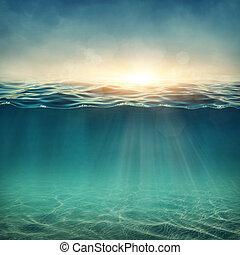 abstratos, submarinas, fundo