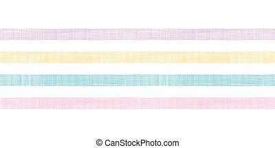 abstratos, têxtil, coloridos, listras, horizontais, seamless, padrão, fundo