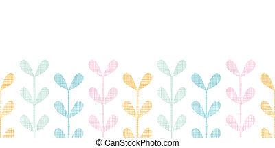 abstratos, têxtil, coloridos, videiras, folhas, horizontais, seamless, padrão, fundo