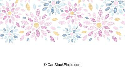 abstratos, têxtil, flores coloridas, horizontais, seamless, padrão, fundo