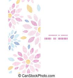 abstratos, têxtil, flores coloridas, vertical, quadro, seamless, padrão, fundo