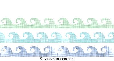 abstratos, têxtil, ondas, listras, horizontais, seamless, padrão, fundo