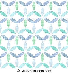 abstratos, têxtil, verde azul, folhas, seamless, padrão, fundo