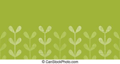 abstratos, têxtil, verde, videiras, folhas, horizontais, seamless, padrão, fundo