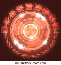 abstratos, tecnologia, experiência vermelha, com, círculos