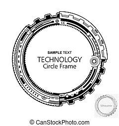 abstratos, tecnologia, quadro, circular