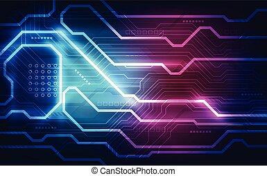 abstratos, tecnologia, tábua circuito, experiência., vetorial, illustration.