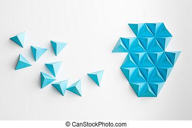 abstratos, tetrahedron, forma