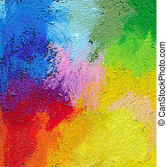 abstratos, textured, acrílico, e, pastel óleo, mão, pintado,...