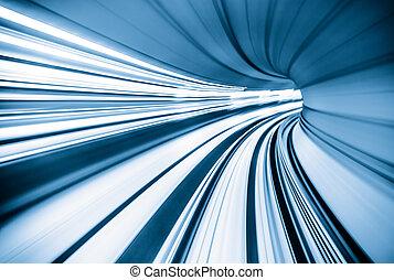 abstratos, trem, mover-se dentro, túnel
