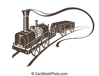 abstratos, trem, retro