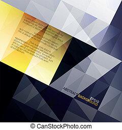 abstratos, triângulos, experiência., azul, e, amarela, gamut., vetorial, eps10