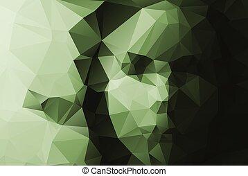 abstratos, triangulate, rosto, experiência., retrato, menina