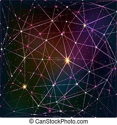 abstratos, triangulo, grade, ligado, cósmico, fundo