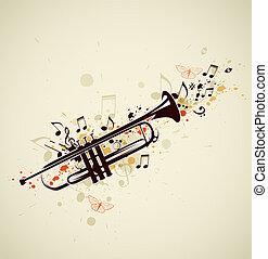 abstratos, trompete, e, notas