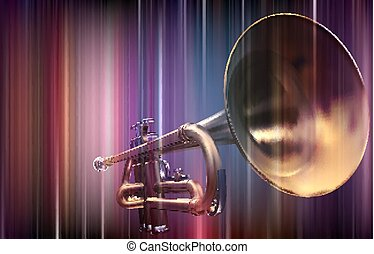 abstratos, trompete, fundo, borrão