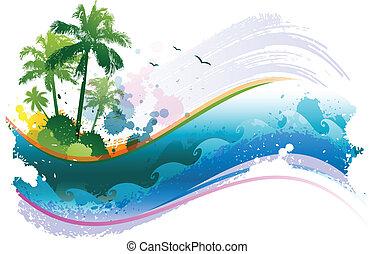 abstratos, tropicais, fundo