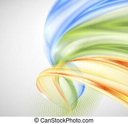 abstratos, verde amarelo, onda azul, bac